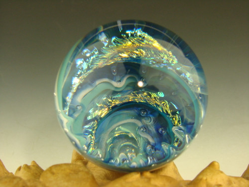 "1.6"" Dichroic Glass Vortex Marble Ocean Wave Air- trap by Mazet"