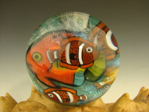 "1.4"" Glass Marble Tropical Fish Murrine by Betty Wolfe"