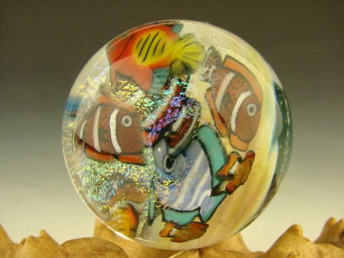 """1.6"""" Glass Marble Tropical Fish Murrine by Betty Wolfe"""