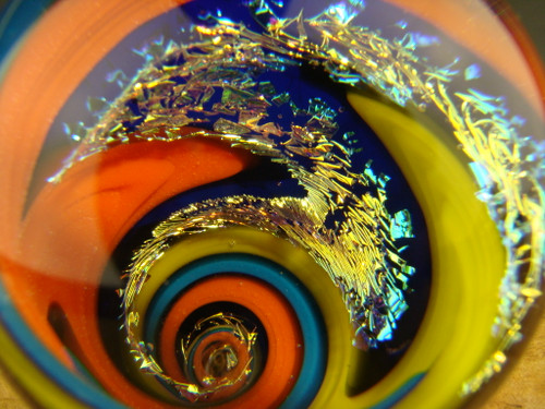 Dichroic Glass Vortex Marble intense Wig Wag Illusion Orb Spiral by Tim Mazet