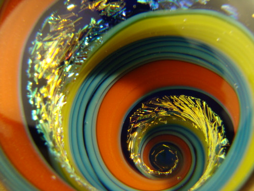 Dichroic Glass Vortex Marble by Tim Mazet