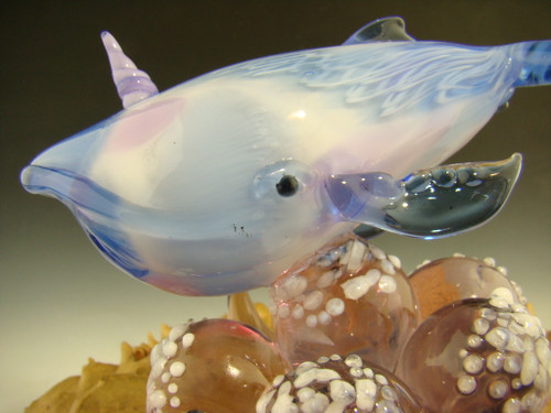 Glass Art Narwhal Whale Paperweight Sculpture by Eli Mazet
