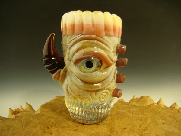 Hand blown shot glass with teeth by mazet