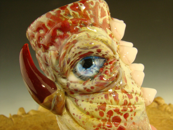 Hand blown Stash Jar Eye with Fangs Container art by Mazet