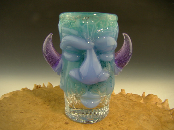 Shot Glass Two Face with Horns freaky Hand blown Flameworked Bartender gift By Mazet(ready to ship)