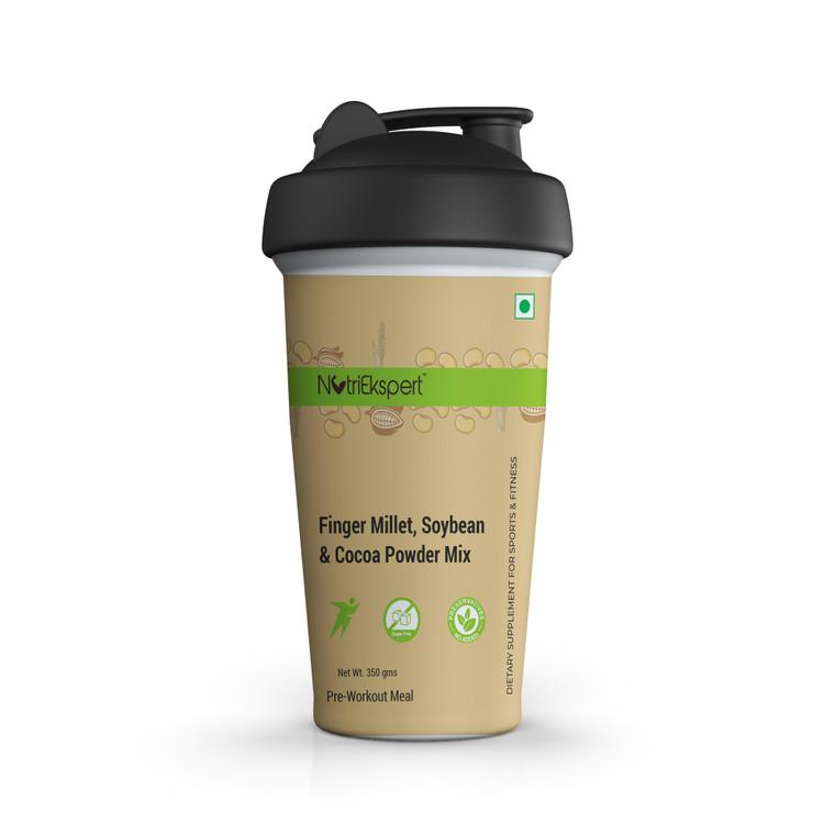 NutriEkspert Super Drink- Finger Millet, Soybean & Coca Powder Mix (Sugar Free) in Protein Shaker-350 gms