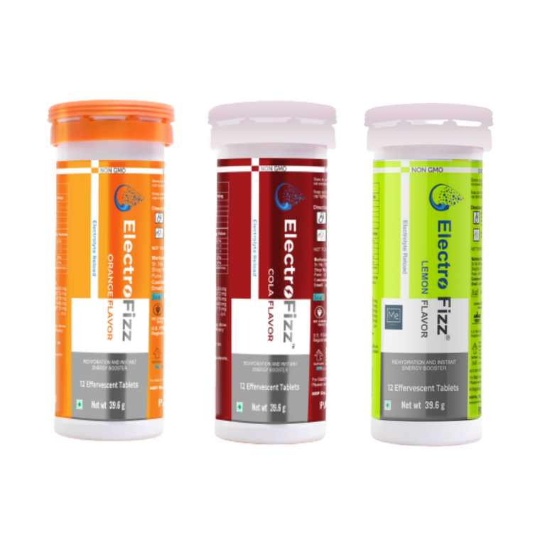 ElectroFizz Electrolyte Instant Energy Drink- 36 Effervescent Tablets (Pack of 3 tubes) - Orange, Lemon & Cola