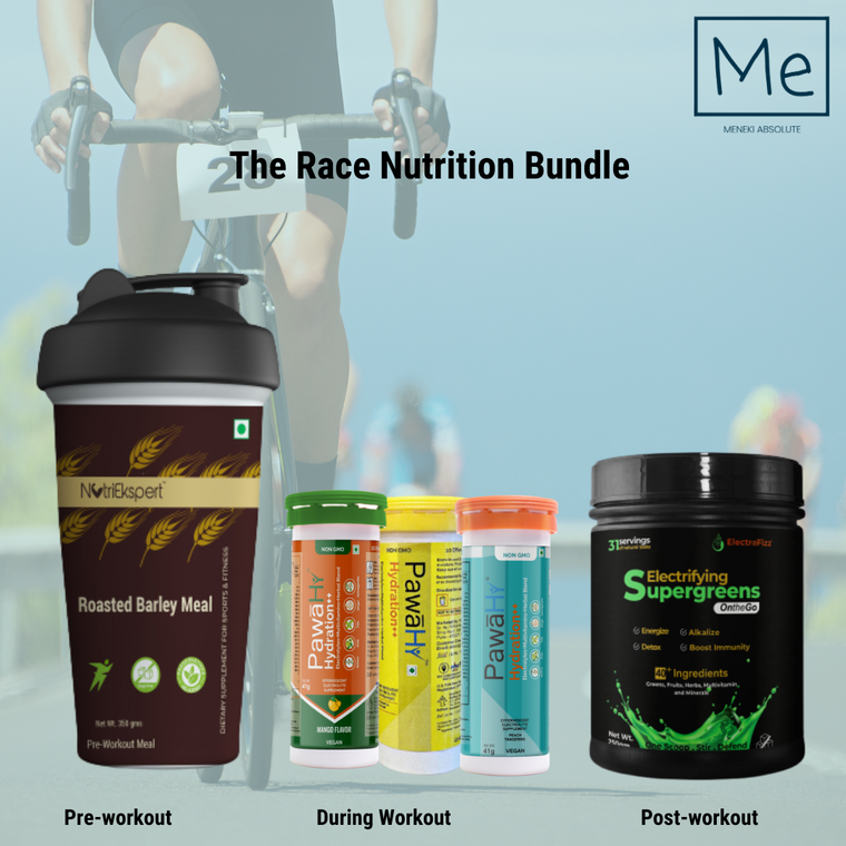 The Race Nutrition Bundle 2- Preworkout, During & Post-workout combo Pack