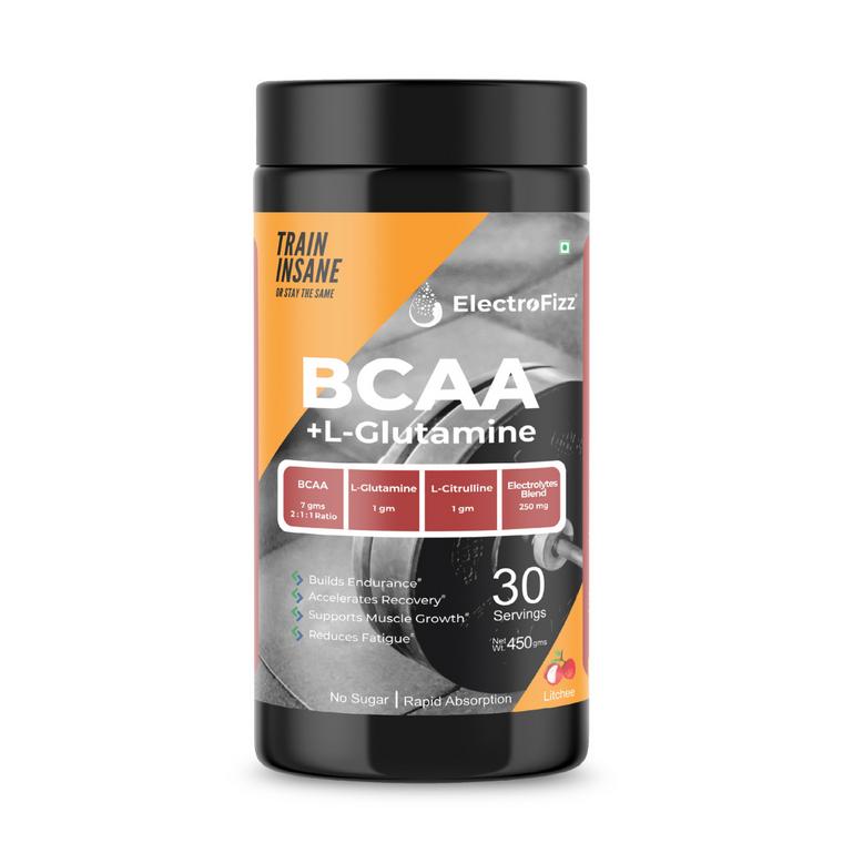ElectroFizz BCAA 7Gms with Glutamine & Citrulline (Litchi Flavor) - 450 Gms