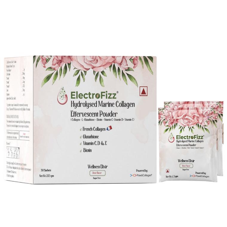 ElectroFizz French Collagen in Rose Flavour with Glutathione, Biotin, Vitamin C, D & E- 225 gm Box (30 Sachets)