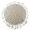 """Fennco Styles Bohemian Handmade Macrame 16"""" Round Decorative Throw Pillow with Case - Natural Cotton Throw Pillow for Couch, Bedroom and Living Room Décor"""