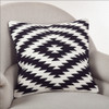 Kilim Design Down Filled Throw Pillow, Black and White