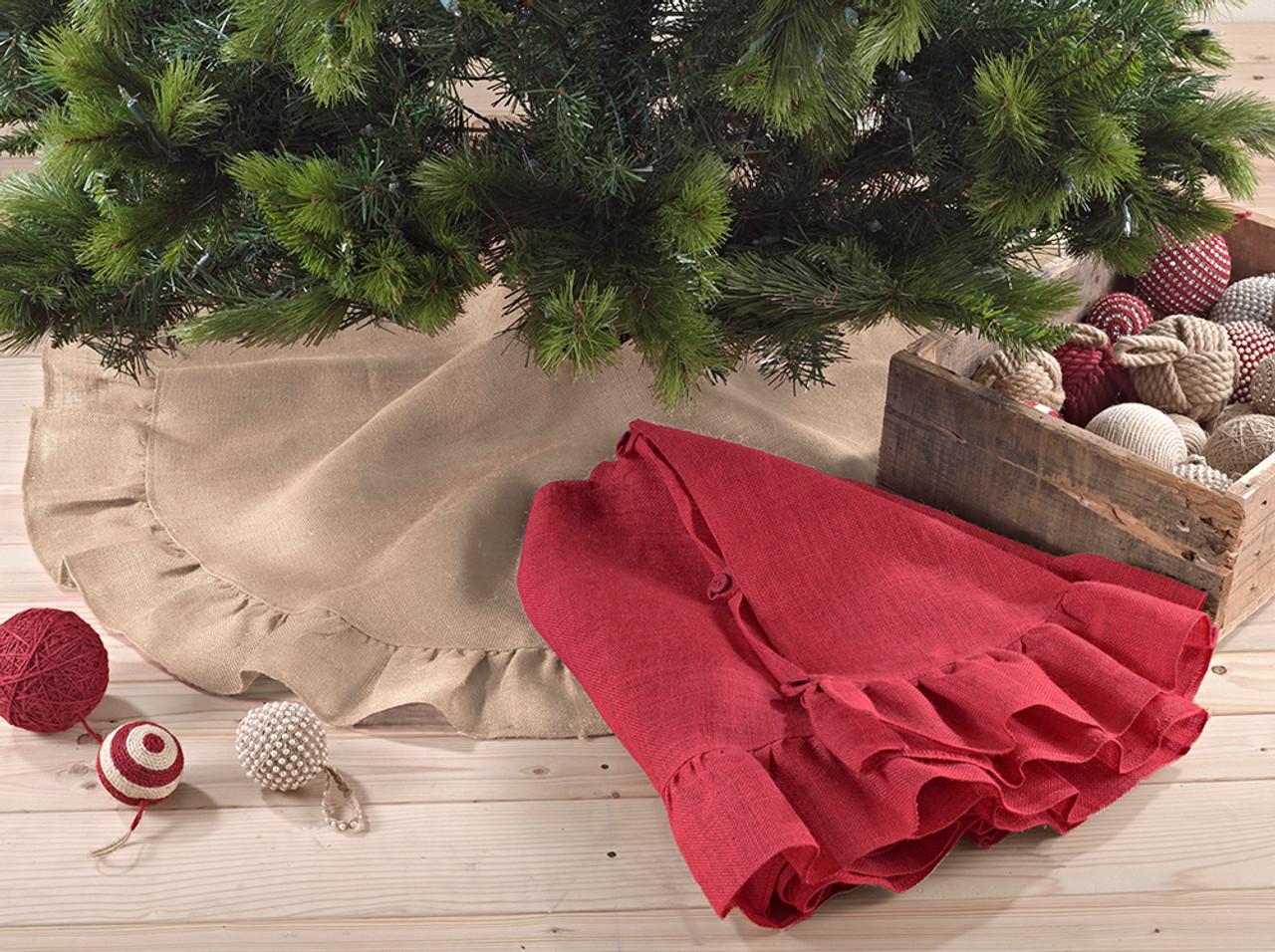 Holiday Decor Ruffle Trim Jute Burlap Xmas Tree Skirt 53 Inch Round Red
