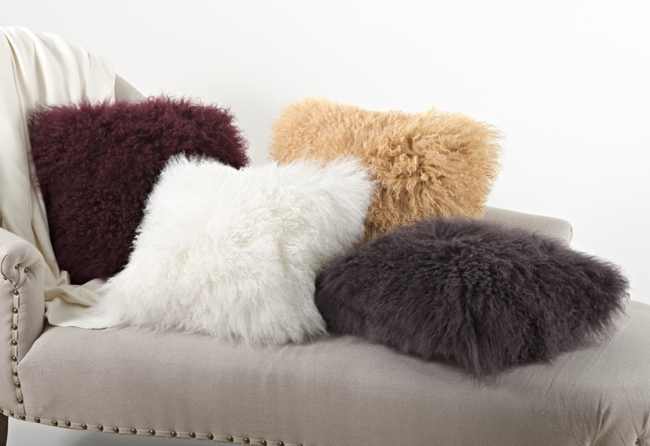 Mongolian Lamb Fur Design Down Filled Throw Pillow