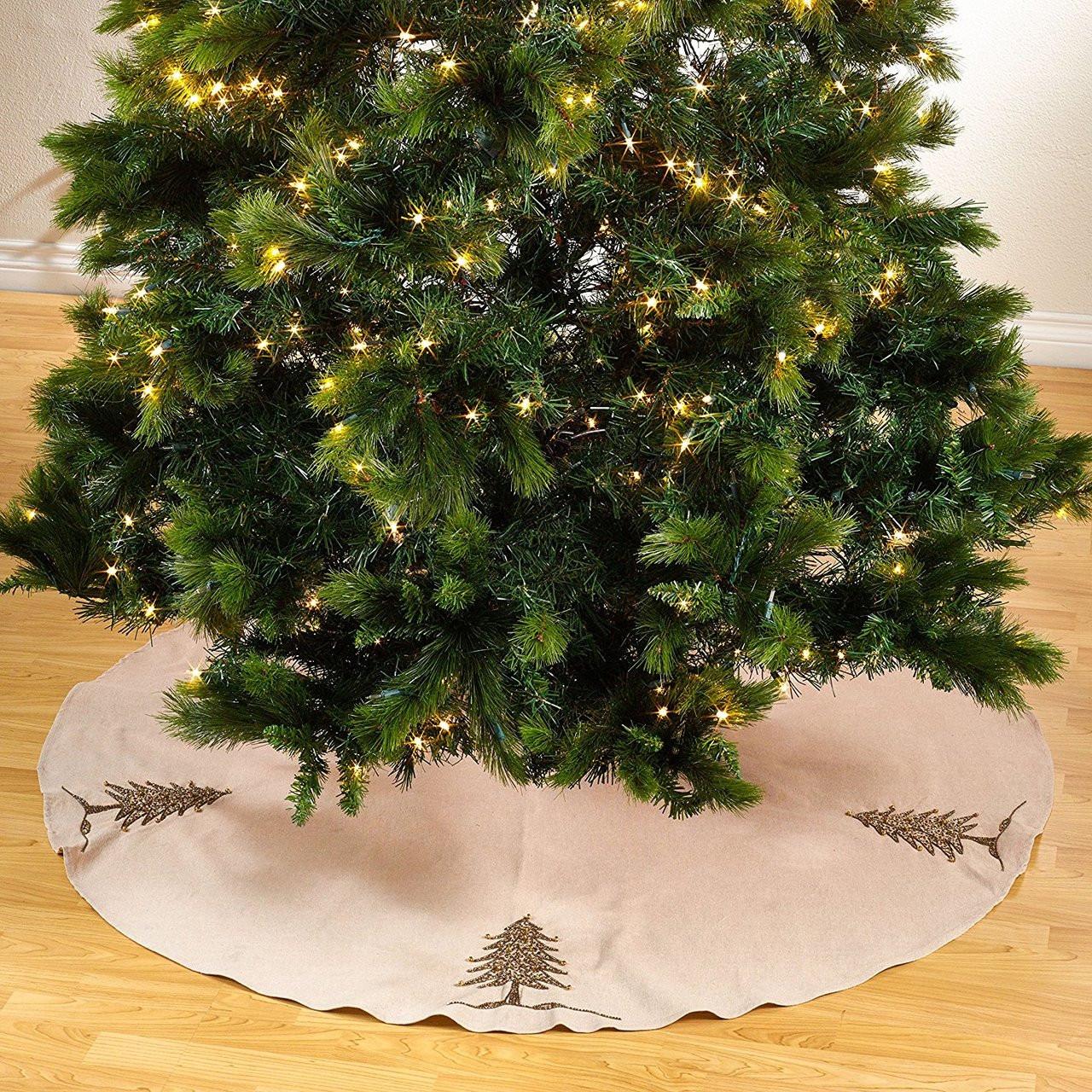 Sapin De Noel Hand Beaded Jute Tree Skirt