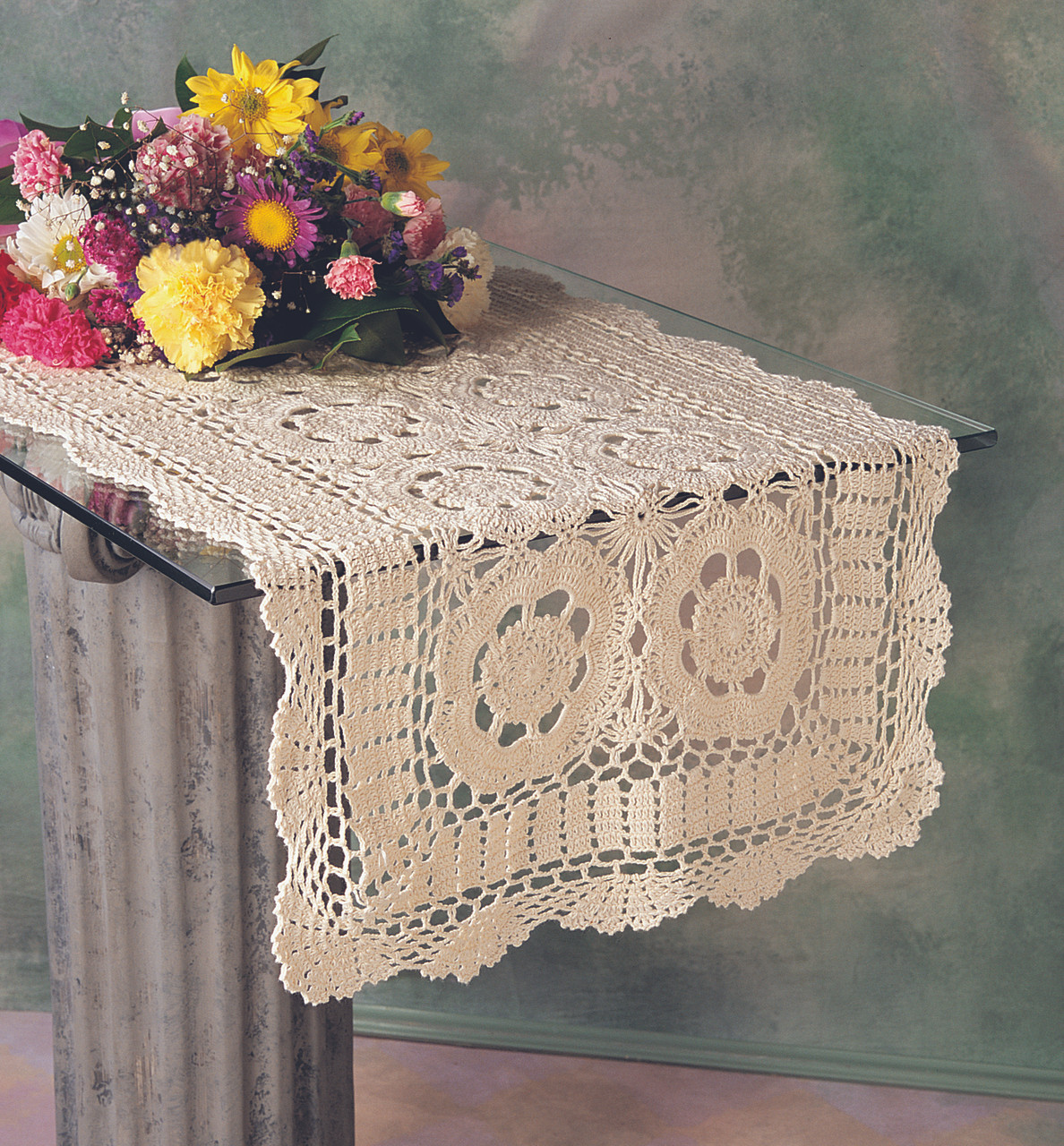 Beautiful Flowers Colorful Hand Crochet Cotton Table Runner L