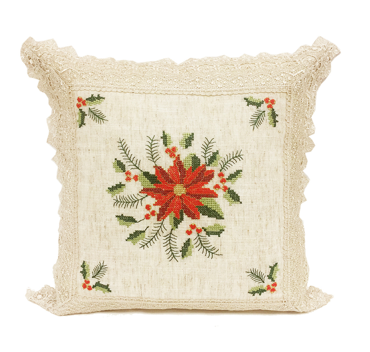 Fennco Styles Holiday Decor Collection Crochet Lace Poinsettia Tablecloth  Runner Pillow