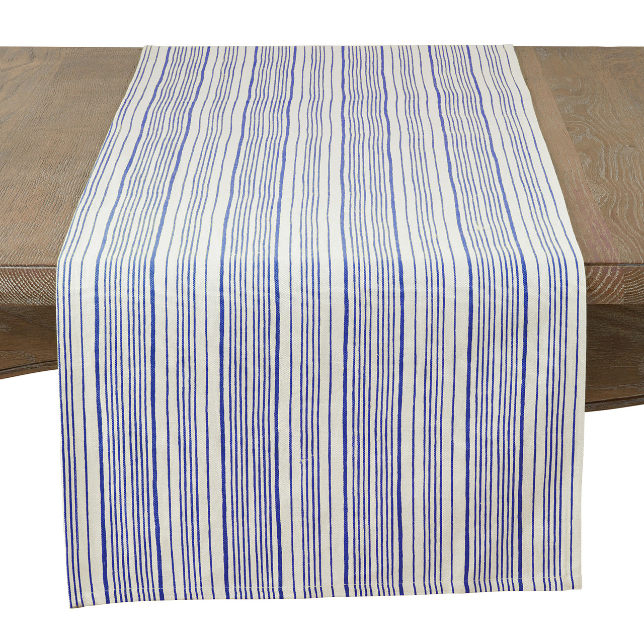 Fennco Styles Nastro Collection Modern Block Striped 100 Pure Cotton Table Runner 16 X 72 Inch Navy Blue Table Runner For Banquets Diner Parties