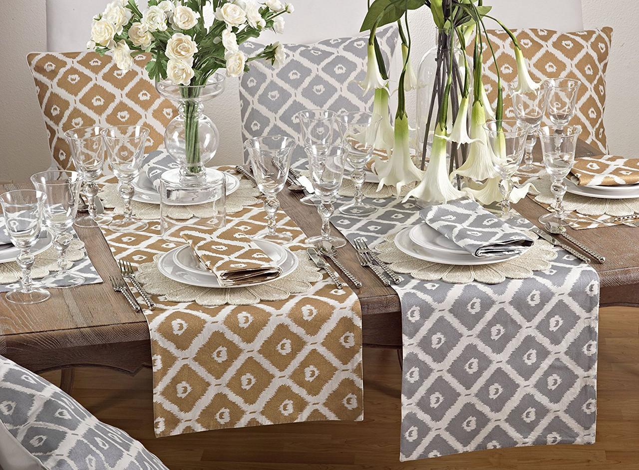 Fennco Styles Metallic Ikat Print Decorative Table Runner