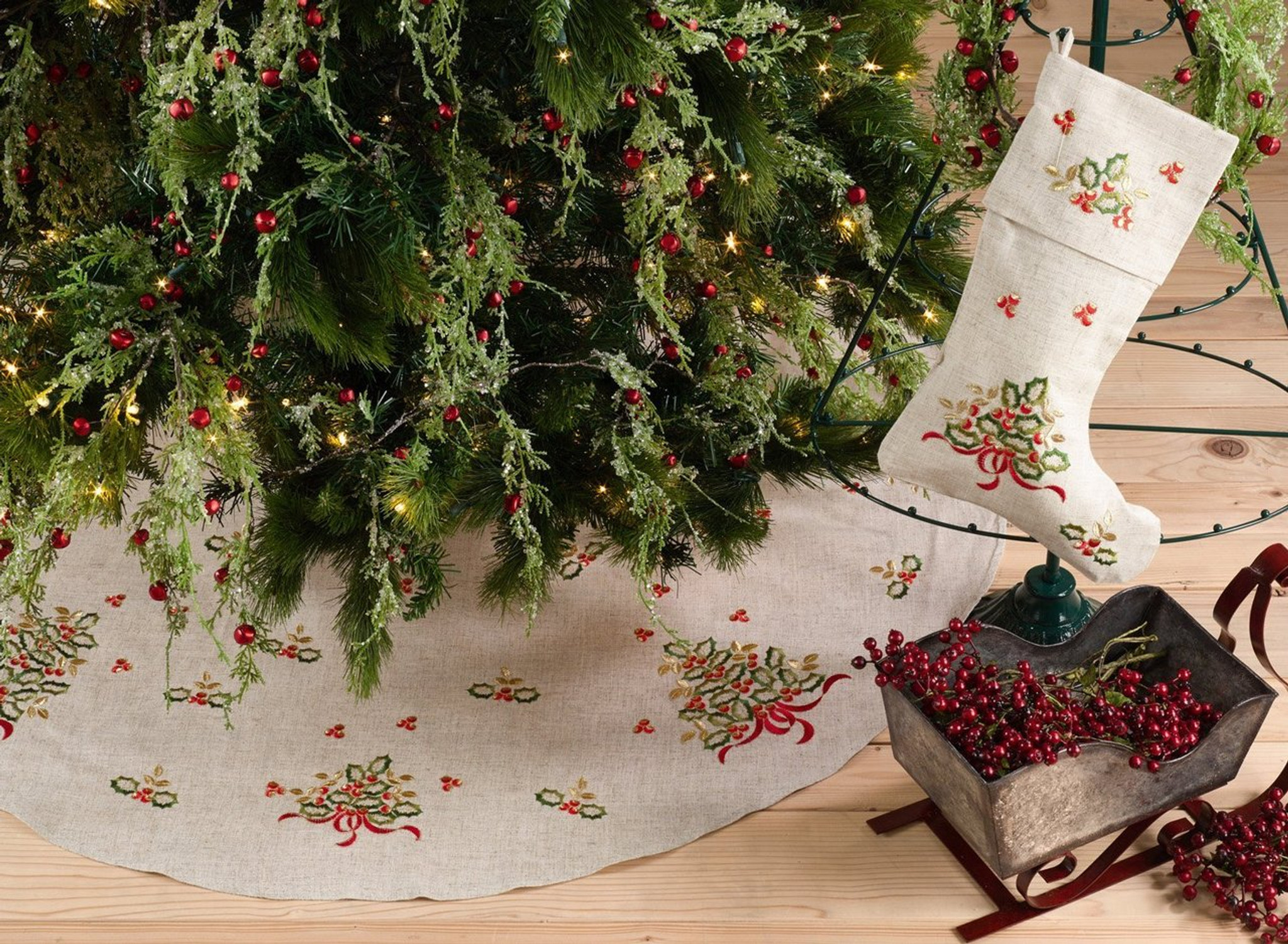 Fennco Styles Embroidered Holly Design Decorative Linen Blend Christmas Tree Skirt 56 Round