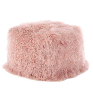 Fennco Styles Home Decor Genuine Mongolian Lamb Fur Ottoman Pouf