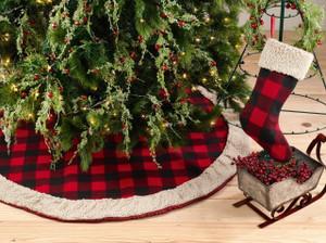 Fennco Styles Buffalo Plaid with Sherpa Border Tree Skirt & Stocking