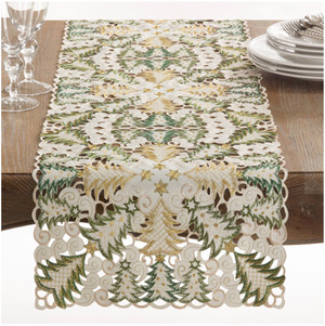Fennco Styles Panettone Collection Holiday Christmas Tree Cutwork Table Runner/ Tablecloth