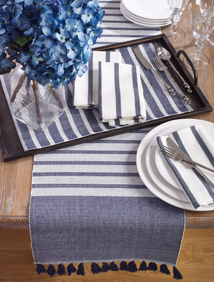 Fennco Styles Bellaria Collection Ribbed Tassel Reversible Table Linen Tablecloth Tabletop Runner/ Napkin/ Placemat