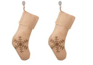 Jeweled Snowflake Burlap Design Holiday Natural Christmas Stocking