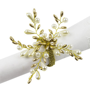Fennco Styles Elegant Pearl Collection Wedding Special Event Table Napkin Rings - Set of 4 (Gold Pearl Flower)