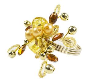Fennco Styles Glass Beads Ember Flower Napkin Ring - Set of 4