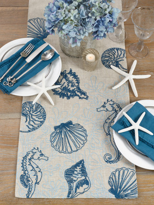 "Fennco Styles Creative Stitched Seaside Decor Linen Table Runner-16""x70"" (Sea Horse)"