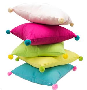 "Fennco Styles Decorative Solid Color Pom Pom Cotton Throw Pillow 18"" Square"