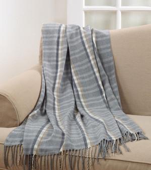 "Grey Plaid Tassel Oversize Throw Blanket 50"" W x 60"" L"