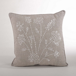Ribbon Embroidered Down Filled Throw Pillow