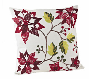 Holiday Embroidered Poinsettia Decorative Down Filled Throw Pillow