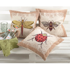 Printed and Embroidered Insect Design Decorative Throw Pillow