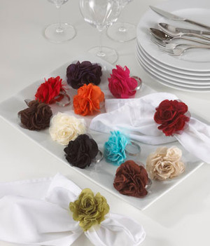 Elegant Flower Napkin Rings, Set of 4
