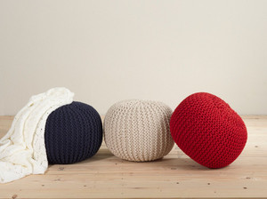 Twisted Rope Pouf Knitted Cotton Round Ottoman