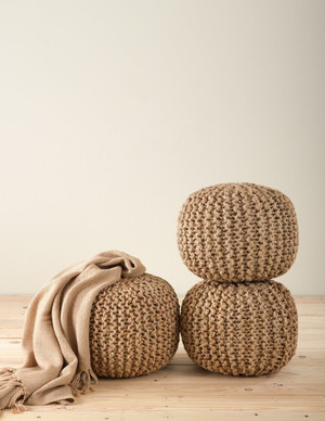 Chic Knitted Design Jute Pouf Ottoman - Natural - 18 Dia x 14 High - One Piece