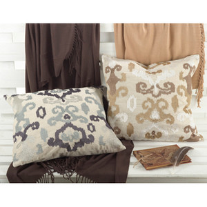 Embroidered Ikat Design Lili Anna Down Filled Throw Pillow