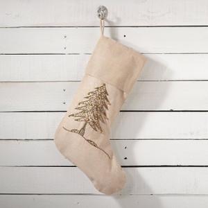 Fennco Styles Sapin De Noel Hand Beaded Jute Stocking