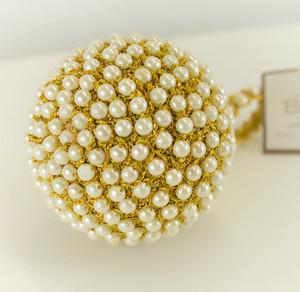 Handmade Jute and Pearl Design Holiday Christmas Tree Ball Ornaments