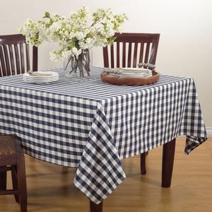 "Fennco Styles Gingham Plaid Cotton Square Tablecloth -72""x72"""