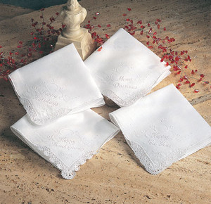 """Embellished Holiday Christmas Handkerchiefs - 4 Styles -11"""" Square"""
