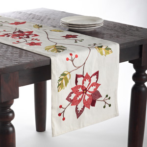 "Florentine Spice Embroidered Poinsettia Cotton Table Runner, 14""x72"""