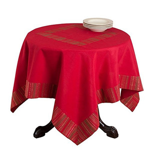 Elegant Woven Striped Tablecloth