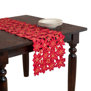 Flor Dee Navidad Embroidered and Cutwork Table Runner