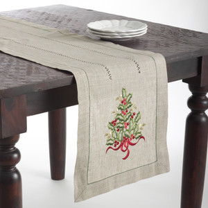 Holiday Embroidered Holly Tree Natural Table Runner
