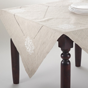 Lucia Embroidered Medallion Linen Blend Natural Tablecloth